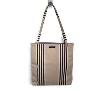 Kate Spade Striped Small Tote Tan & Navy Blue Bag